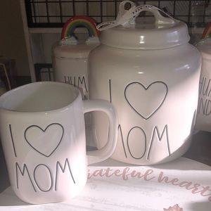 Rae Dunn I ❤️ MOM jar and matching mug